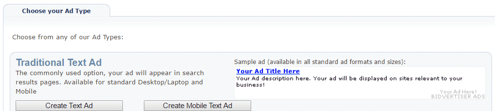create text ad