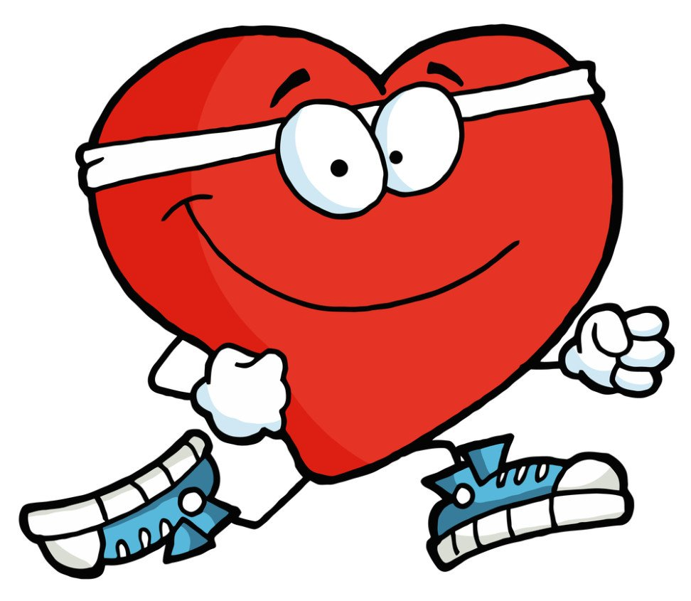 Royalty-free clipart picture of a healthy red heart running past, on a white background.