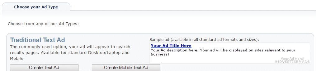 create text ad