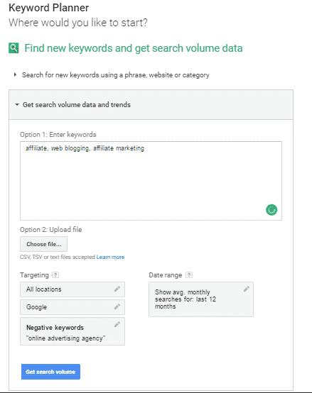 google adword keyword planner