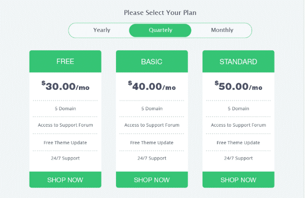 AR Pricing table