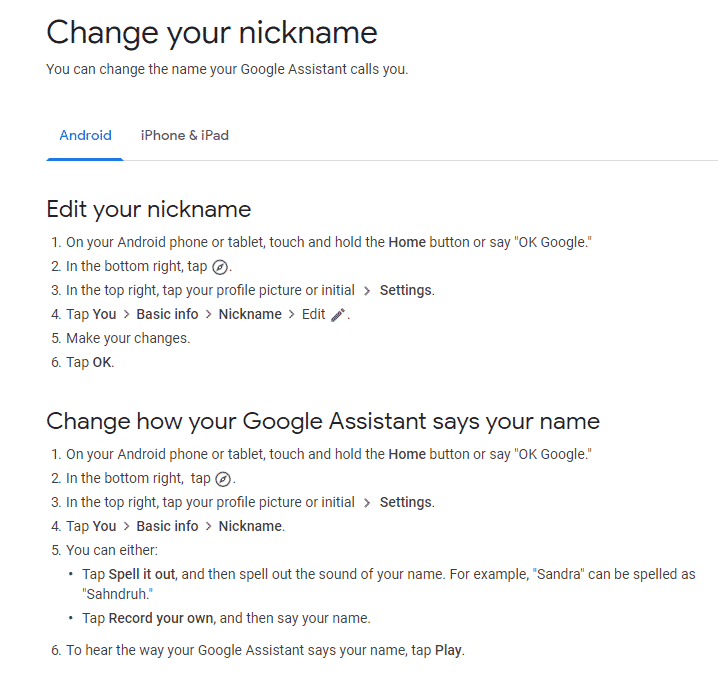 google assistant setting